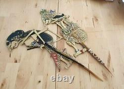 2 x Vintage Indonesian Shadow Wooden Rod Puppets Wayang