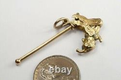 ANTIQUE 9K GOLD ARTICULATED DANCING MR PUNCH JESTER / ACROBAT & POLE CHARM c1900