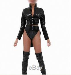 Black Latex Swallowtail Dress Rubber Evening Gowns Pole Dance woman's clothing
