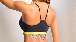 Black/Neon Yellow Mesh Accented Pole Dancing & Workout Set. Made in the USA