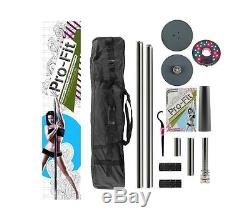 Dance Pole 45mm Pro-Fit Professional Portable Spinning + Attachable LED Light