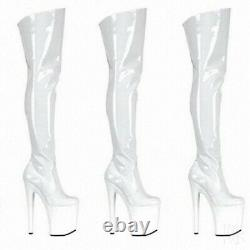 Ladies Clubwear Shoes 20cm High Heels Platform Over Knee Pole Dancing Boots Sexy