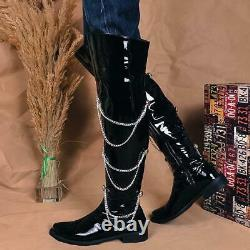 Men Over The Knee Patent Leather Chain Decor Boot Nightclub Pole Dancing Shoe L