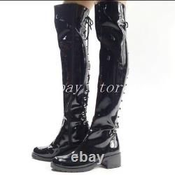 Men Women Pole Dancing Clubwear Patent Leather Lace Up Over Knee Boot Military L