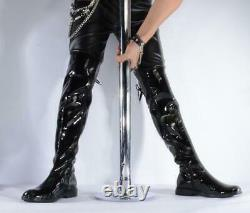 Mens Punk Stage Pole Dancing Over Knee Boots Shoes Zip Patent Leather Motorcycle
