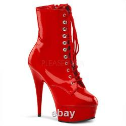 Pleaser Delight 1020 Red Patent Front Lacing Platform Pole Dancing Ankle Boots
