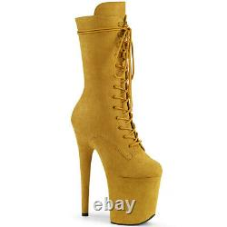 Pleaser Flamingo 1050FS Mustard Faux Suede 8 Inch Mid Calf Pole Dancing Boots