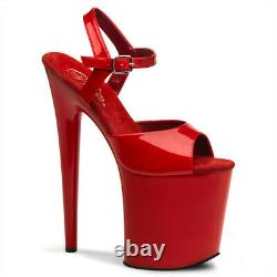 Pleaser Flamingo 809 Red Patent Ankle Strap 8 Inch Platform Pole Dancing Shoes