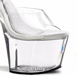 Pleaser Treasure-708 Clear Pole Dancing Shoes With Buckle Strap