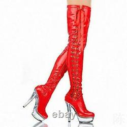 Pole Dancing Gothic Womens Thigh Over Knee High Knight Boots Platform Heel Sexy
