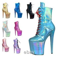 Sexy Women High Heel Ankle Boots Platform Lace Up Boots Shoes Pole Dance Cosplay