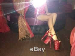 Sexy pole dancing handmade women shoes red glitter sandals 9 stripper stage