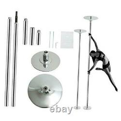 Stripper Pole Spinning and Static Dance Pole Portable Removable Dancer silver