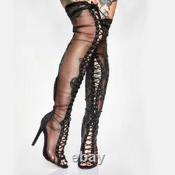 Trendy Womens Thigh High Boots Mesh Lace Heels Pole dancing boots Big Size 48