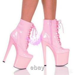 White 15/20cm Heels Platform Lace Up Ankle Boots Sexy Exotic Pole Dance Stripper
