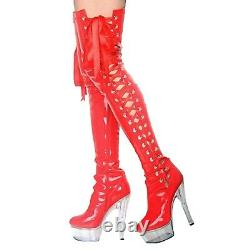 Womens Wet Look Boots strappy Crossdresser Pole Dance Thigh Length shoes US 4-12