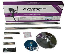 X-Dance Pole 45mm Chrome Spinning Stripper Sport Fitness Exercise w Carry Case