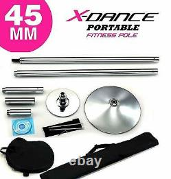 X Dance Pole Potable Exotic Static Spinning 9FT Stripper Pole Exercise CHROME