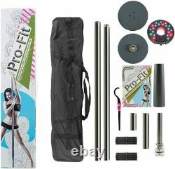 Dance Pole 50mm Pro-fit Professional Spinning Portable + Lampe Led Attachable