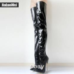 Femmes Clubwear Pole Dance Over Knee High Bottes High Metal Talon Pointy Toe Chaussures