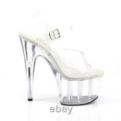 Pleaser Adore 708 Clear Upper & Clear Platform 7 Inch High Heel Pole Dance Shoes