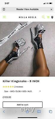 Pole Dance Chaussures Exotiques Pleaser Hella Heels Killer Kingsnake Taille 5 Royaume-uni 8inches