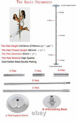 Stainless Steel Dance Pole Full Kit Fitness Dancing Stripper Exercise Club Party