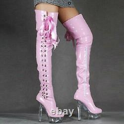 Womens Wet Look Boots Strappy Crossdresser Pole Dance Thigh Length Chaussures Us 4-12