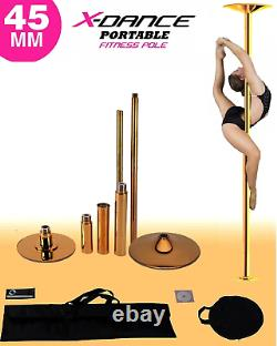 X Dance Pole Professional Gold Exotic Dance Exercise Fitness + 2 Carry Bag