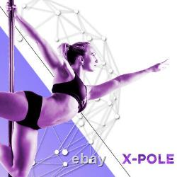 Xpole X-pert Pro 45mm Px Spinning Static Dance Exercise X Pole Set Silicone Rose